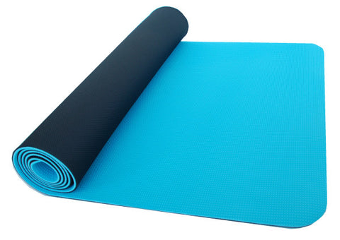 thinksport Safe Yoga Mat, 24 in x 72 in x 1/5 in, Color: black/blue ice