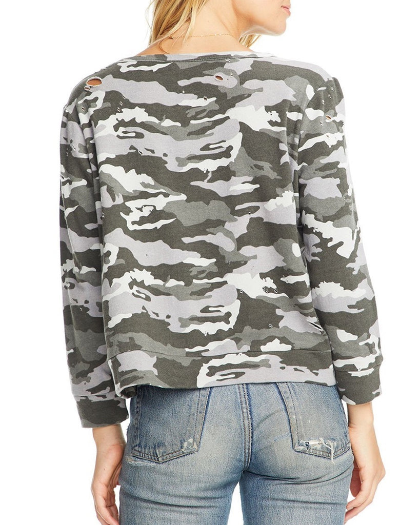 Distressed Camouflage Sweatshirt