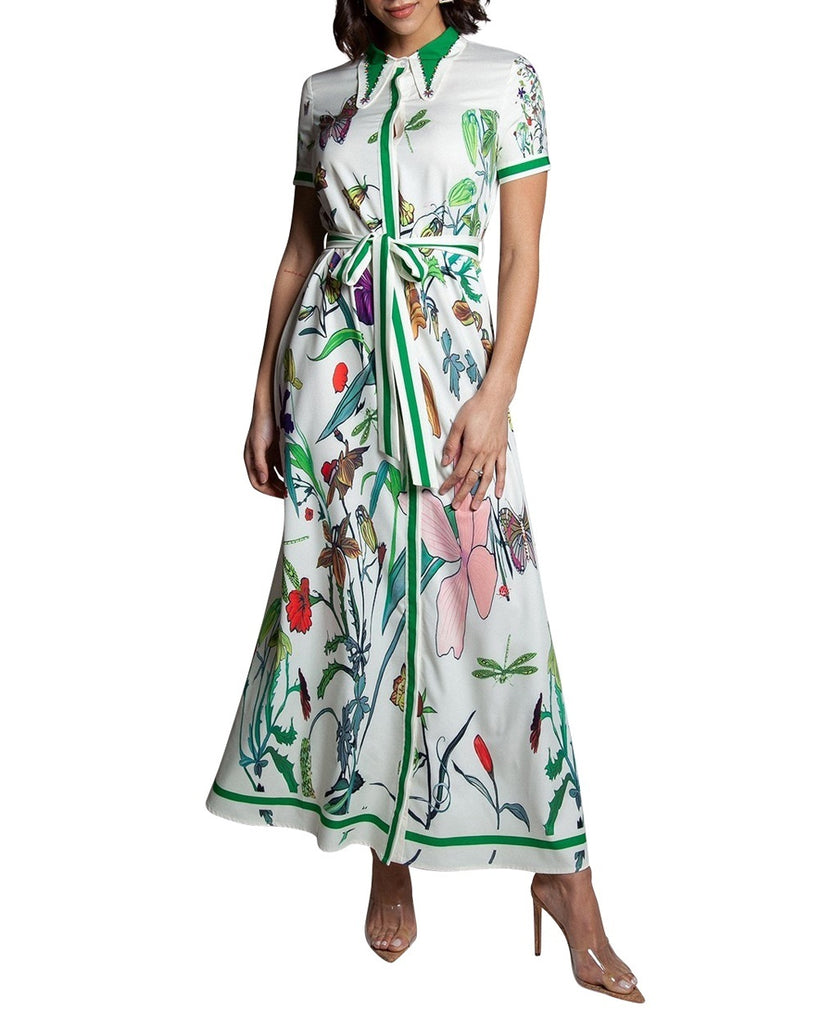Botanical Print Shirt Dress