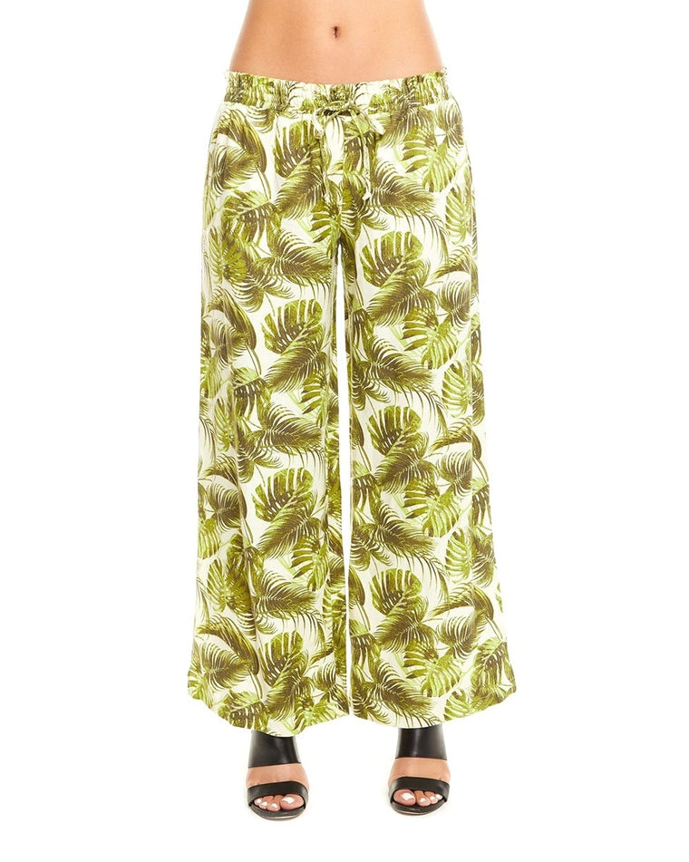Palm Print Linen Side Slit Pants