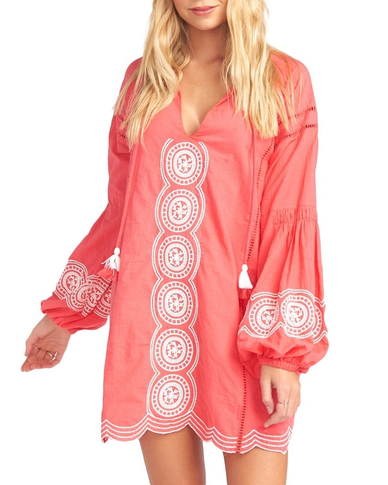 Claudine Coral Sunburst Tunic Dress