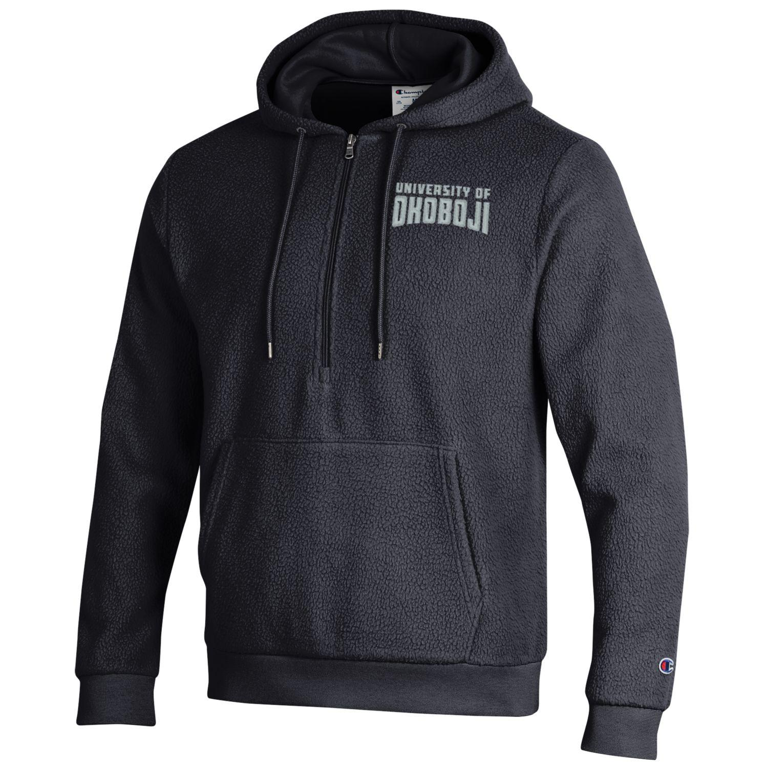 U of Okoboji Sherpa 1/4 Zip Hood - Black