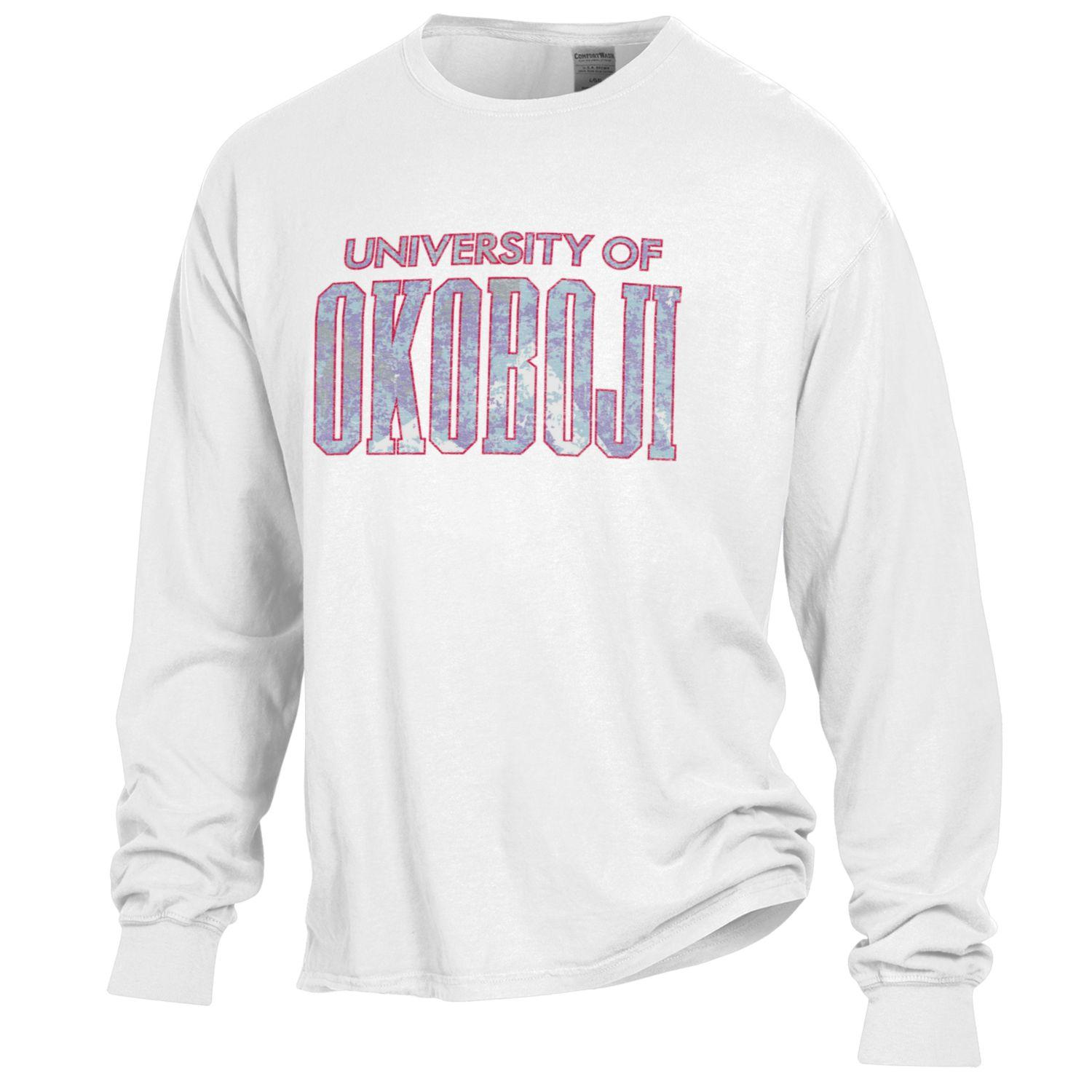 University of Okoboji Glass Rock - Garment Dyed Long Sleeve - White