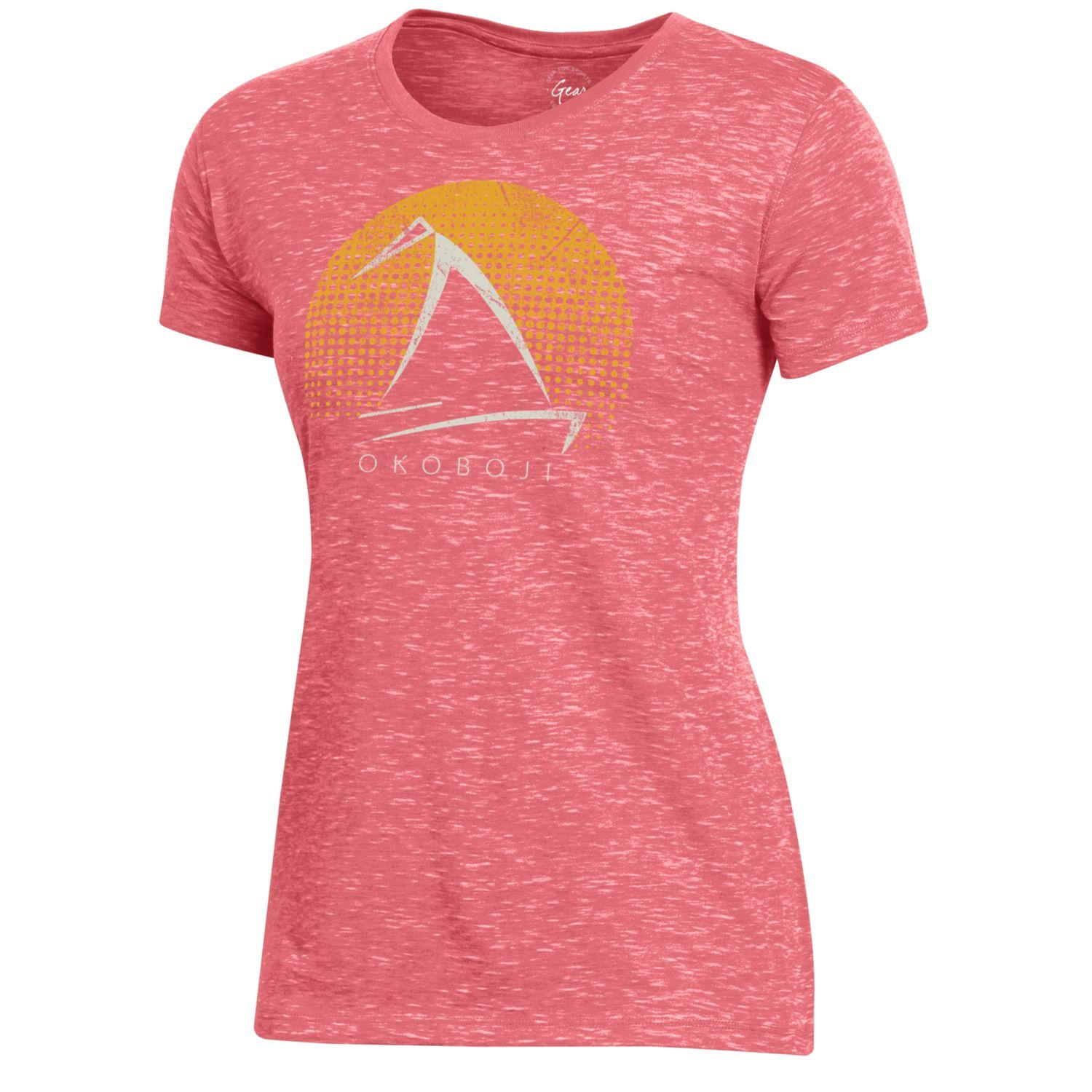 Ladies Okoboji Fireside Tee - Coral Sunrise