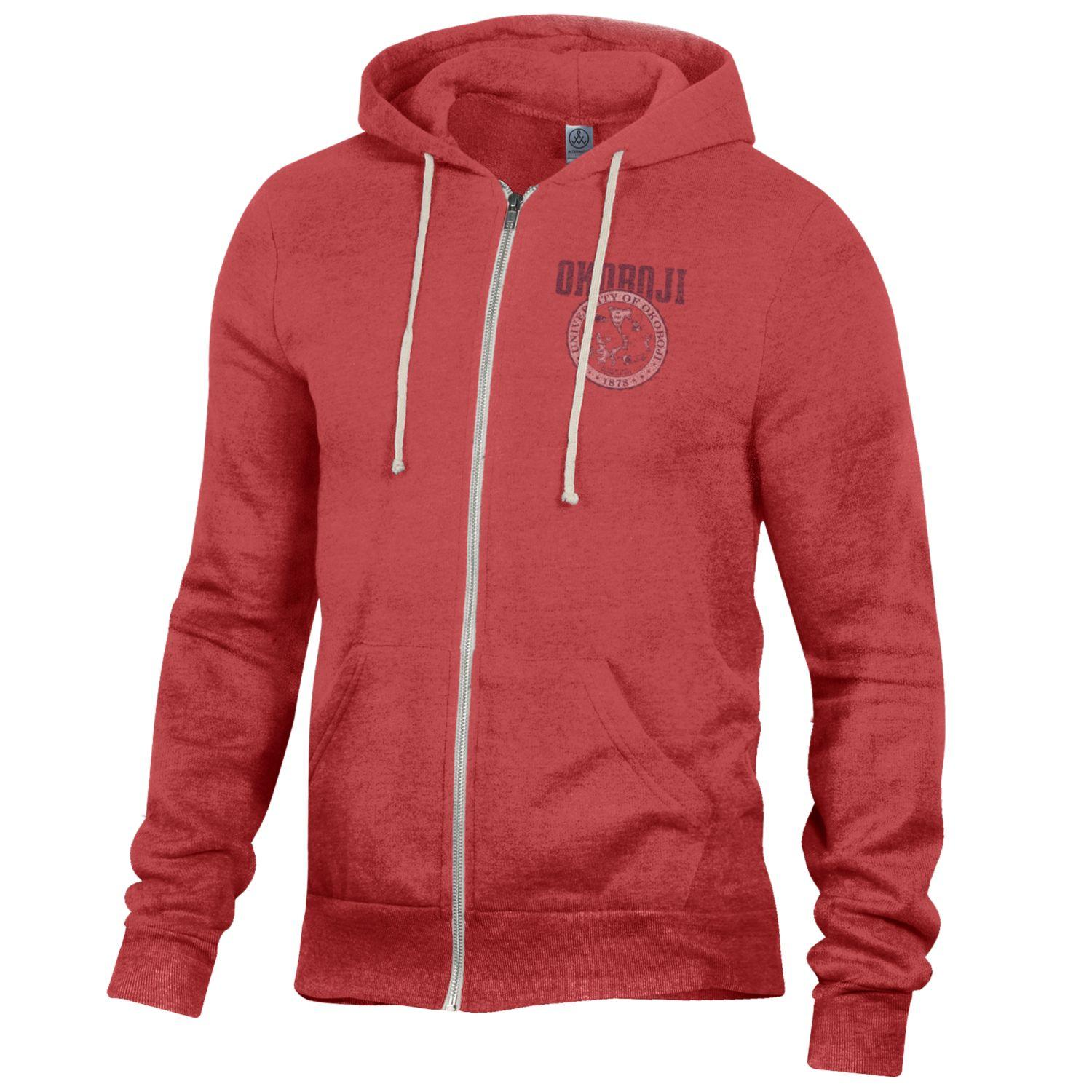University of Okoboji Crest Rocky Hoodie - Eco True Red