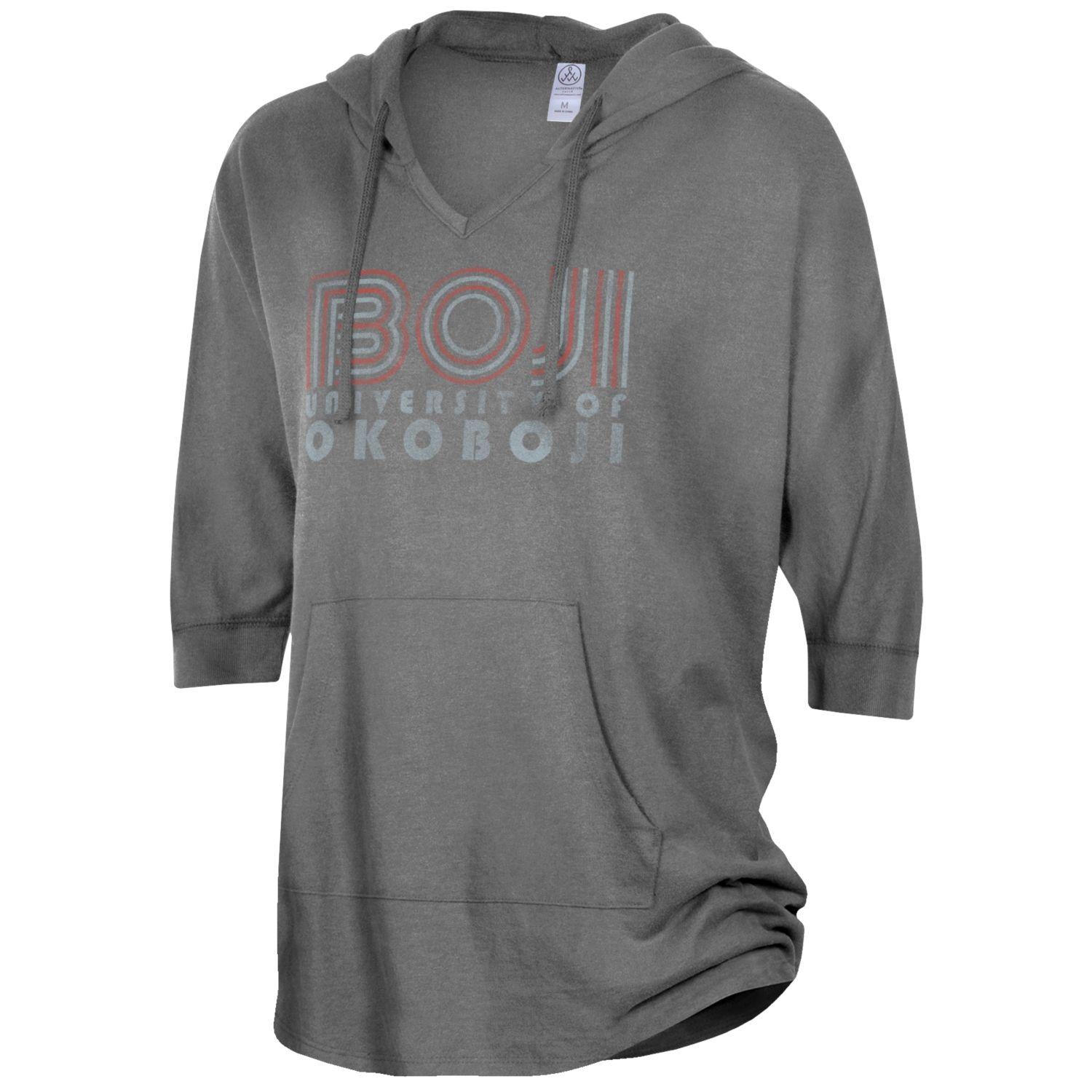 Ladies University of Okoboji Gameday Poncho - Vintage Coal