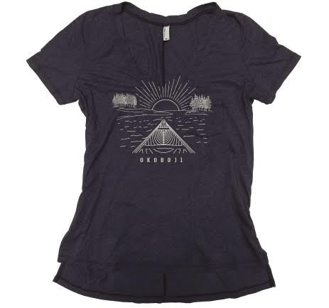Ladies Pocket V-Neck - Black