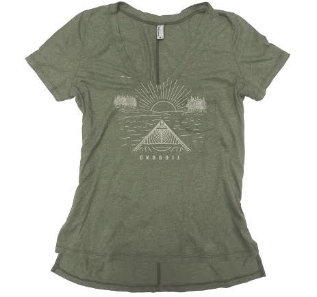 Ladies Pocket V-Neck - Kelp Green