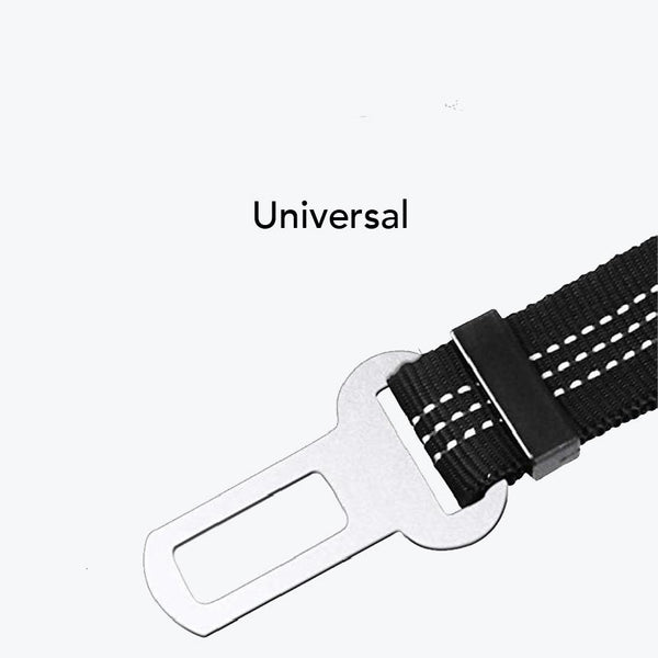Dog seat belt with universal buckle for every car