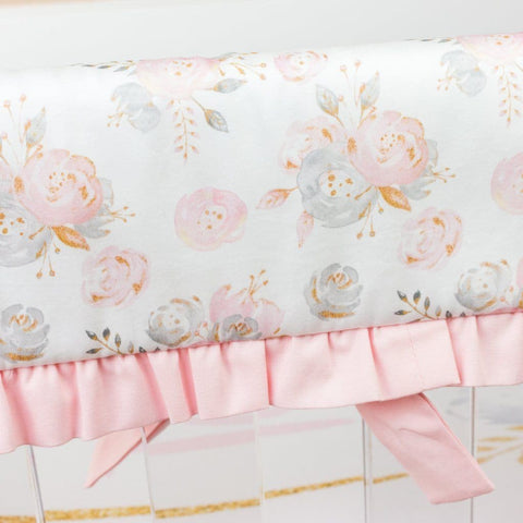 Blush Gold Floral Rail Guards Crib Bedding Modified Tot