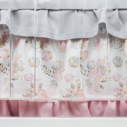 Blush Gold Floral Ruffled Crib Skirt Crib Bedding Modified Tot
