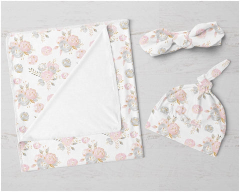 Blush Gold Floral Swaddle Blanket Set Swaddle Blanket Modified Tot