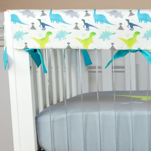 Bright Dinosaur Bumperless Crib Bedding (3 Pcs: Rail Guards, Sheet, Skirt) Crib Bedding Modified Tot