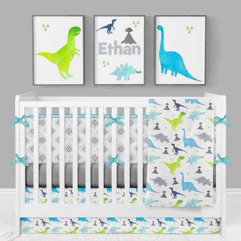 *Create Your Own Package* Bright Dinosaur Crib Bedding Crib Bedding Modified Tot