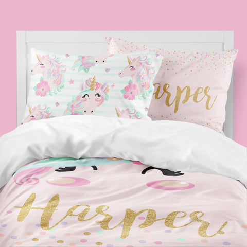 Personalized Pink Unicorn Big Kid Bedding Set Big Kid Bedding Modified Tot