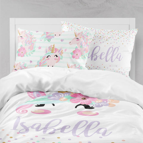 Personalized Unicorn Big Kid Bedding Set Big Kid Bedding Modified Tot