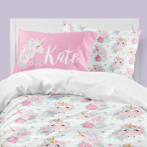 Striped Unicorn Big Kid Bedding Set Big Kid Bedding Modified Tot