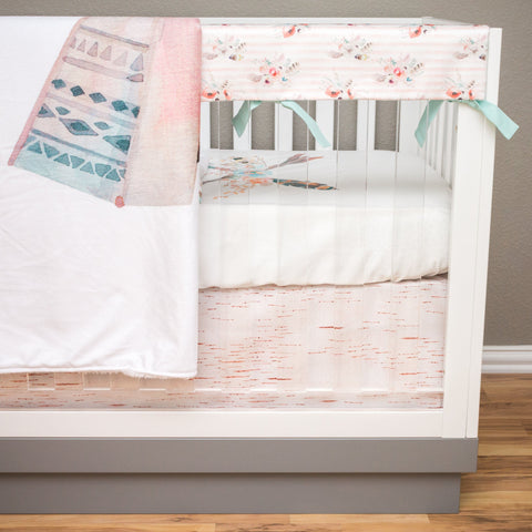 Tribal Boho Bumperless Crib Bedding (4 Pcs: Rail Guards, Sheet, Skirt, Minky Blanket) Crib Bedding Modified Tot