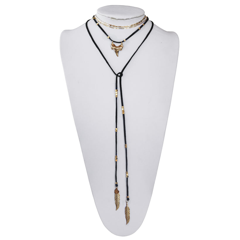 Shark Tooth Saturday Layered Stack Necklace
