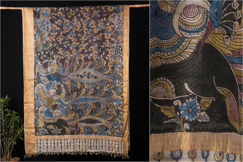 Srikalahasti Penwork Kalamkari Pure Tussar Silk Saree with Traditional Zari Woven Border