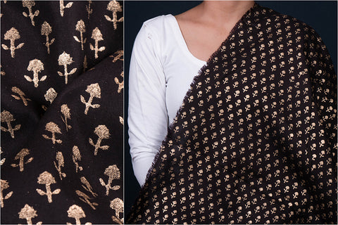 Black Sanganeri Block Printed Gold Buti Rayon Fabric