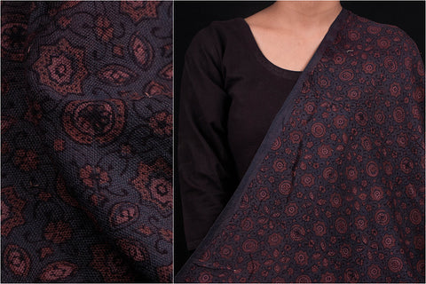 Special Woolen Ajrakh Hand Block Print Natural Dyed Fabric From Kutch