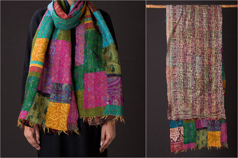 Bengal Kantha Embroidery Work Reversible Silk Stole