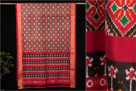 Patola Ikkat Hand Spun Pure Silk Saree With Blouse