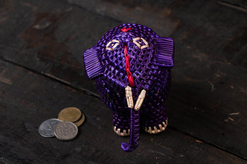 Handmade Sikki Grass Elephant Money Bank