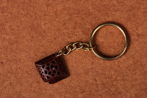 Handcarved Red Sandal Wood Keychain