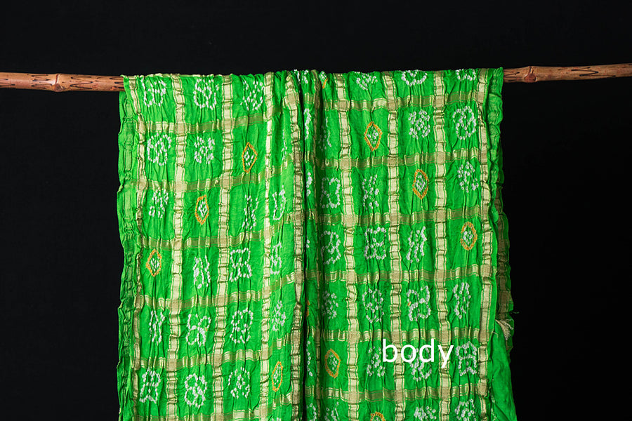 Pure Gaji Silk Jari Checks Traditional Gharchola Bandhani Saree