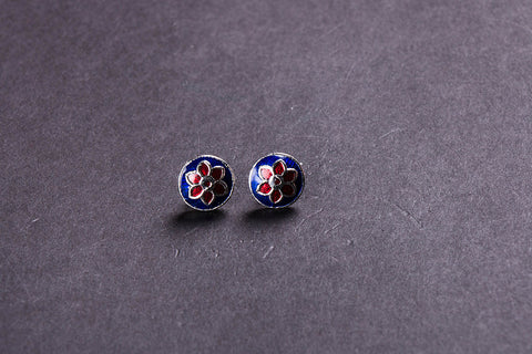 Handcrafted Paka Meenakari Stud Earrings by Sukhomoy Mukherjee