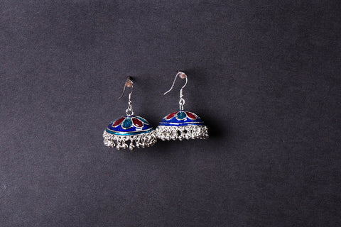 Handcrafted Paka Meenakari Jhumki Earrings by Sukhomoy Mukherjee