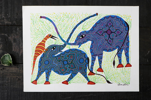 Bhil Pithora Painting on Paper by Geeta Bariya (Size: 11x15 Inches)
