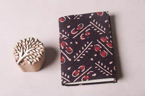 Ajrakh Fabric Cover Handmade Ruled Paper Diary ( 5in x 3.5in )