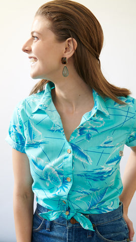 SOUTH SEAS AQUA LADIES ALOHA SHIRT