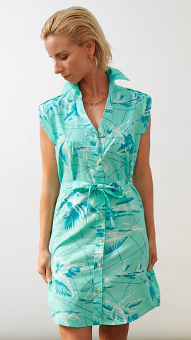 SHIRT DRESS - SOUTH SEAS AQUA
