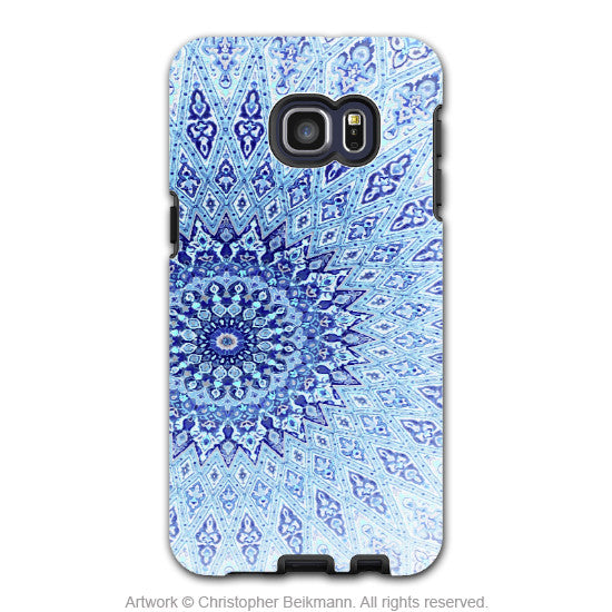 Blue Zen Mandala - Artistic Galaxy S6 EDGE+ TOUGH Case - Dual Layer Protection - Cloud Mandala