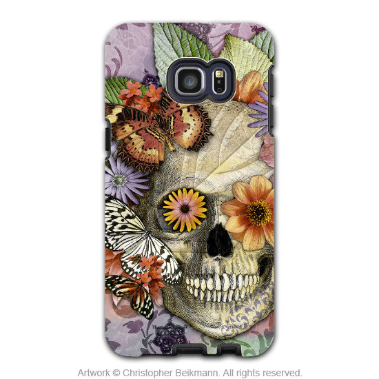 Butterfly Floral Skull - Artistic Galaxy S6 EDGE+ TOUGH Case - Dual Layer Protection - Butterfly Botaniskull