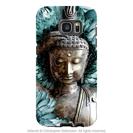 Blue and Brown Reclining Buddha - Artistic Galaxy S6 EDGE TOUGH Case - Dual Layer Protection - Mind Bloom - Galaxy S6 Edge Tough Case - 1