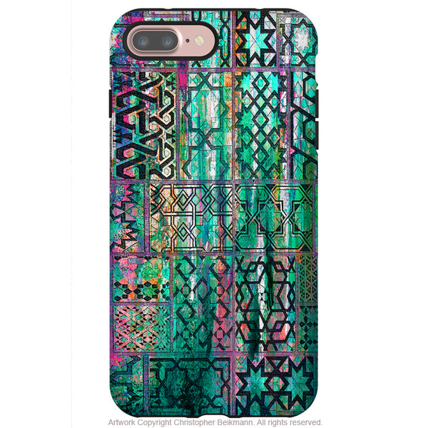 Moroccan Teal Abstract - Artistic iPhone 8 PLUS Tough Case - Dual Layer Protective Case