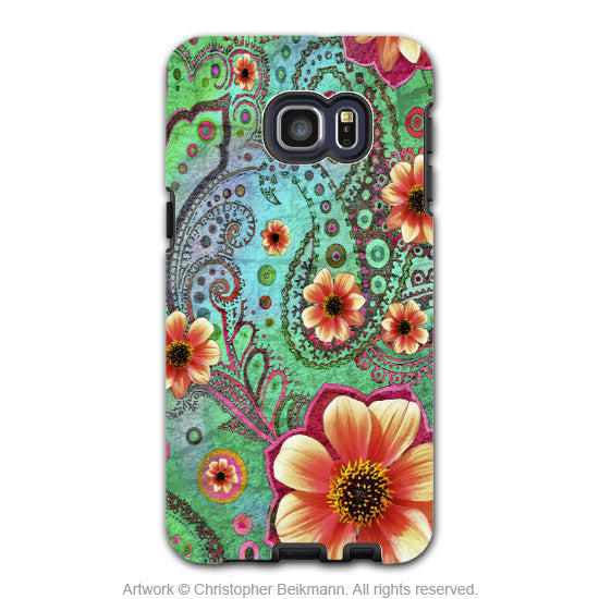 Teal Floral Paisley - Artistic Galaxy S6 EDGE+ TOUGH Case - Dual Layer Protection - Paisley Paradise