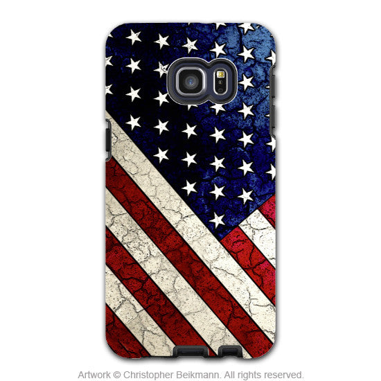 U.S. Flag Distressed - Artistic Galaxy S6 EDGE+ TOUGH Case - Dual Layer Protection - Stars and Stripes