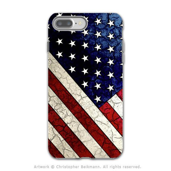 U.S. Flag Distressed - Artistic iPhone 7 PLUS Tough Case - Dual Layer Protection - Stars and Stripes - iPhone 7 Plus Tough Case - Fusion Idol Arts - New Mexico Artist Christopher Beikmann