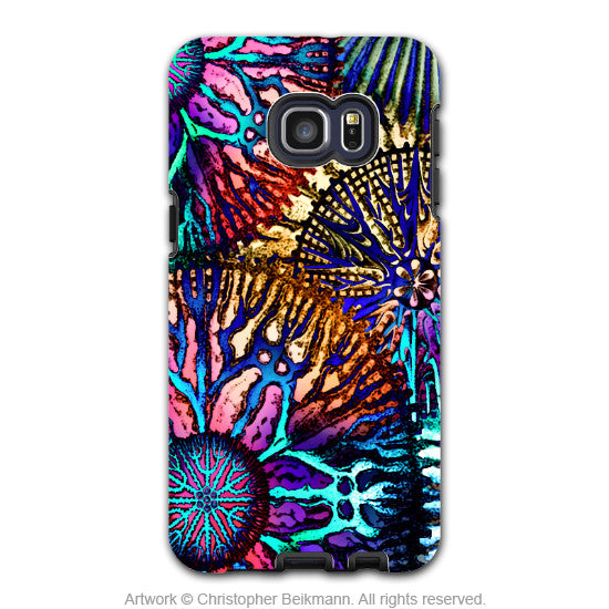 Colorful Abstract Coral - Artistic Galaxy S6 EDGE+ TOUGH Case - Dual Layer Protection - Cosmic Star Coral