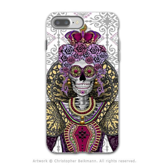 Sugar Skull Renaissance Queen - Artistic iPhone 7 PLUS Tough Case - Dual Layer Protection - Mary Queen of Skulls - iPhone 7 Plus Tough Case - Fusion Idol Arts - New Mexico Artist Christopher Beikmann