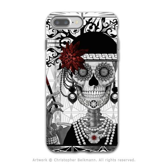 Flapper Girl Sugar Skull - Artistic iPhone 7 PLUS Tough Case - Dual Layer Protection - Mrs Gloria Vanderbone - iPhone 7 Plus Tough Case - Fusion Idol Arts - New Mexico Artist Christopher Beikmann