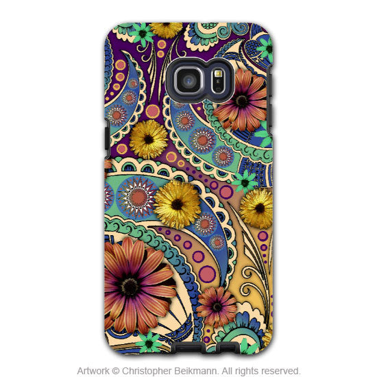 Colorful Paisley Daisy Art - Artistic Galaxy S6 EDGE+ TOUGH Case - Dual Layer Protection - Petals and Paisley