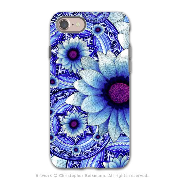 Blue Floral Apple iPhone 7 Tough Case - Dual Layer Protection - Talavera Alejandra - iPhone 7 Tough Case - Fusion Idol Arts - New Mexico Artist Christopher Beikmann