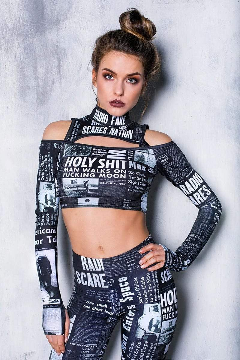 black-newspaper-cold-shoulder-crop-top